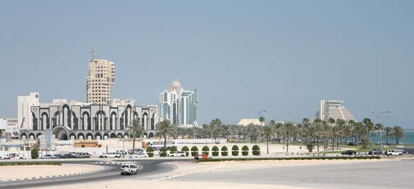 Skyline of Doha, Qatar. New District Doha is being rebuilt at breakneck speed