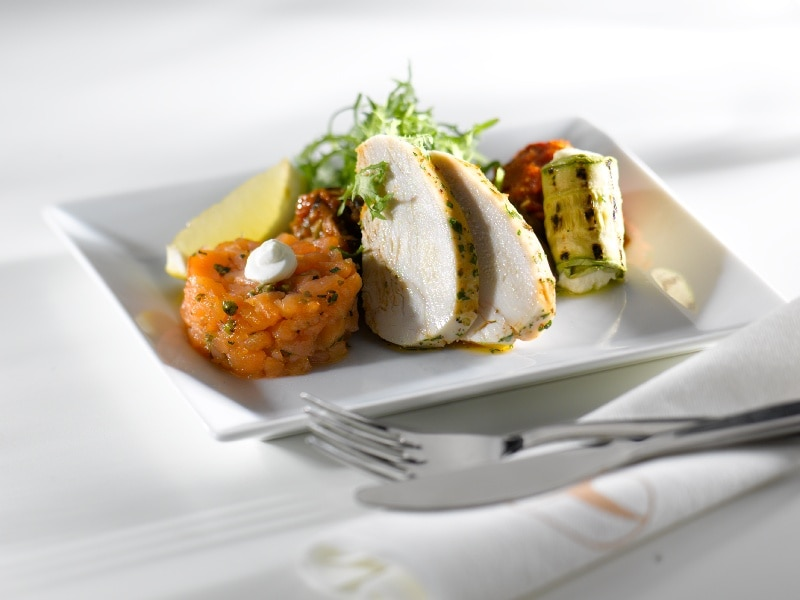 Snack: Shrimp Louis antipasto with fresh lebneh dollop, poached rosemary chicken breast with grilled stuffed zucchini.