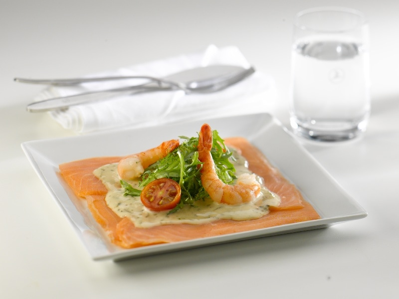 Seafood mezza: Nova Scotia Lox with dill sauce, jumbo shrimp and greens.