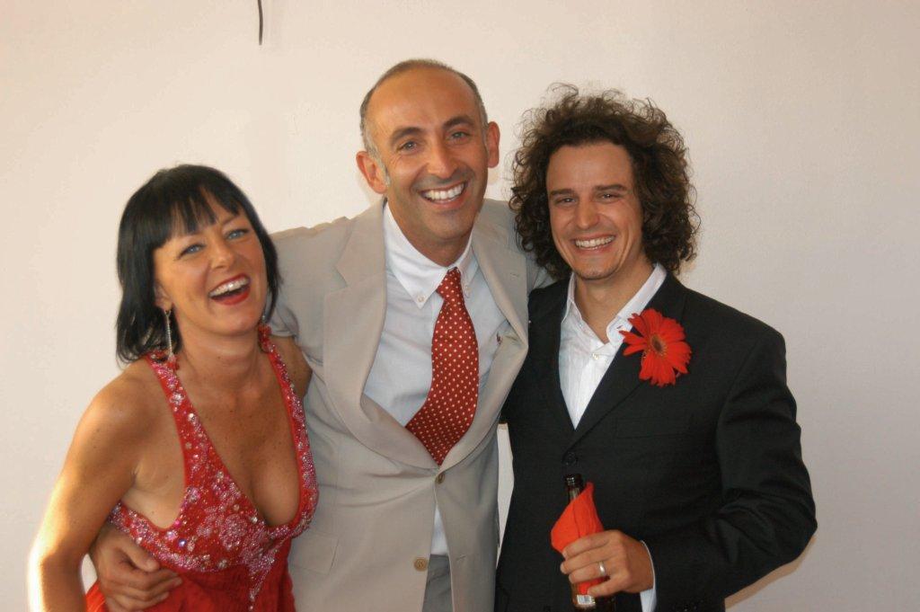 Aelyon, center, with Elizabeth Keister and husband Tony Romano