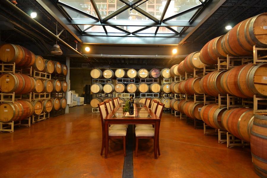 Monte de Oro barrel room w glass ceiling - ALO Magazine