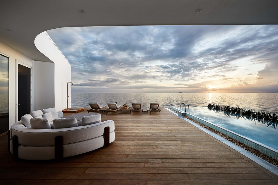 THEM URAKA Overwater Deck View Lounge Architecture_Credt Justin Nicholas - ALO Magazine