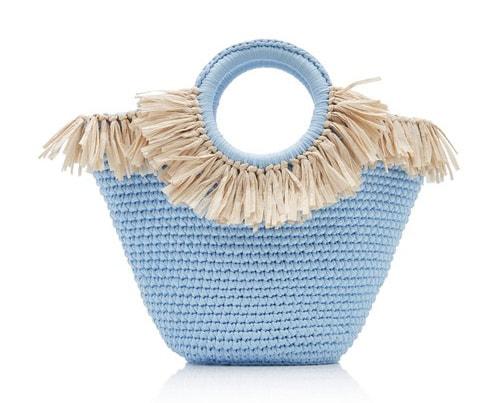 mizele blue sun bag mini raffia cotton tote - alo magazine